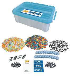 All pieces and storage bin featured in the LaQ basic 5000 set