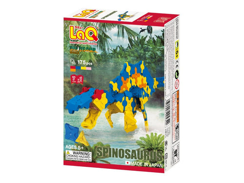 Package front featured in the LaQ dinosaur world spinosaurus set
