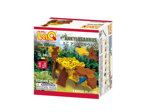 Package back view featured in the LaQ dinosaur world mini ankylosaurus set