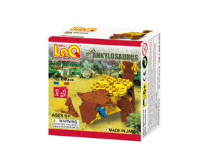 Package front view featured in the LaQ dinosaur world mini ankylosaurus set