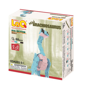 Package back view featured in the LaQ dinosaur world mini brachiosaurus set