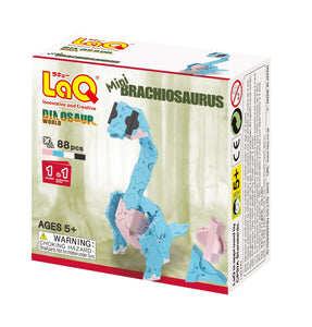 Package front view featured in the LaQ dinosaur world mini brachiosaurus set