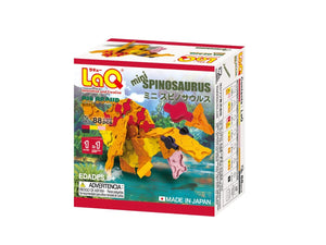 Package back view featured in the LaQ dinosaur world mini spinosaurus set