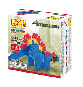Package back side featured in the LaQ dinosaur world mini stegosaurus set