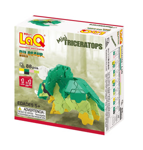Package back view featured in the LaQ dinosaur world mini triceratops set