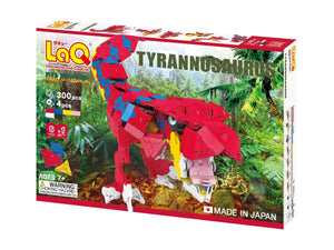 Package front view featured in the LaQ dinosaur world tyrannosaurus set