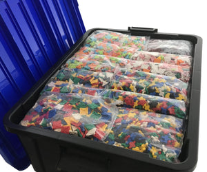 Open bin featured in the LaQ master free style 25,000 piece bin mixed set
