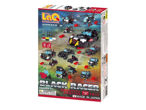 Package back view featured in the LaQ hamacron constructor black racer set