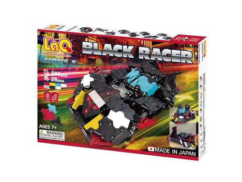 Package front view featured in the LaQ hamacron constructor black racer set