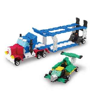 Car carrier truck and car featured in the LaQ hamacron constructor express set