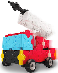 Fire truck with extended ladder in the LaQ hamacron constructor set