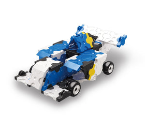Blue race car featured in the LaQ hamacron constructor jet fighter set