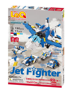 Package back view featured in the LaQ hamacron constructor jet fighter set