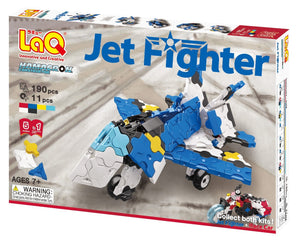 Package front view featured in the LaQ hamacron constructor jet fighter set