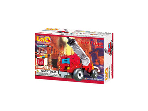Package back view featured in the LaQ hamacron constructor mini fire truck set