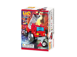Package front view featured in the LaQ hamacron constructor mini fire truck set
