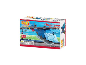 Package back view featured in the LaQ hamacron constructor mini helicopter set