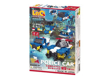 Load image into Gallery viewer, Package back view featured in the LaQ hamacron constructor police car set