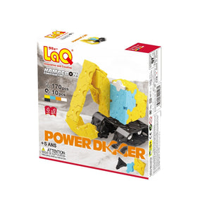 Package back view featured in the LaQ hamacron constructor power digger set