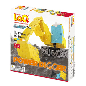 Package front view featured in the LaQ hamacron constructor power digger set