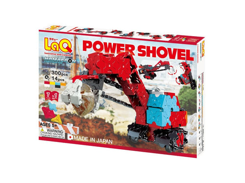 Package front view featured in the LaQ hamacron constructor power shovel set