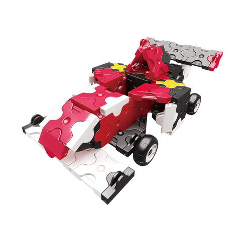 Red race car featured in the LaQ hamacron constructor race car set