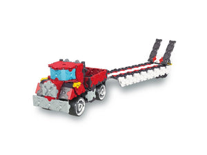 Truck with flatbed featured in the LaQ hamacron constructor speed wheels set
