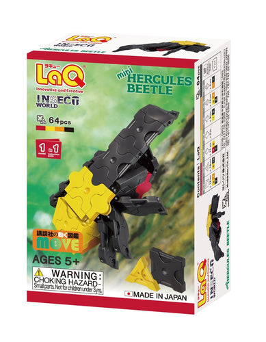 Package front view featured in the LaQ insect world mini hercules beetle set
