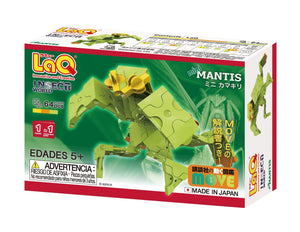 Package back view featured in the LaQ insect world mini mantis set