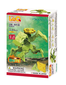 Package front view featured in the LaQ insect world mini mantis set