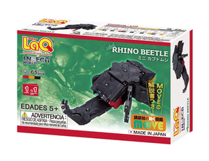 Package back view featured in the LaQ insect world mini rhino beetle set