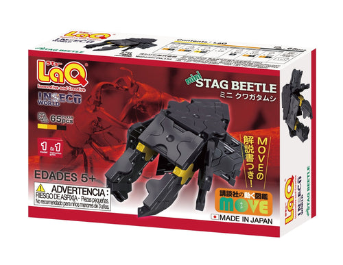 Package back view featured in the LaQ insect world mini stag beetle set