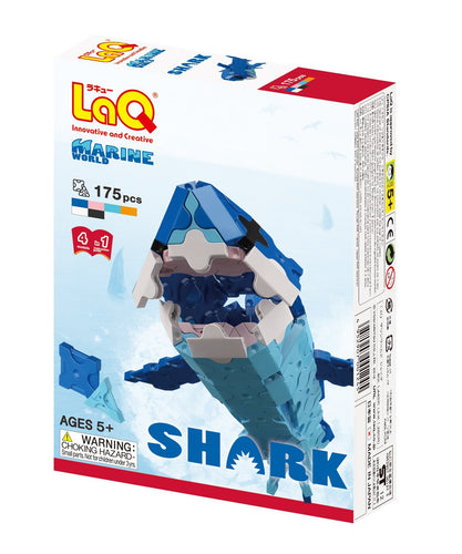 Package front view featured in the LaQ marine world shark set