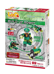 Package back view featured in the LaQ robot jade set