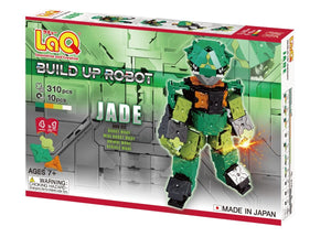 Package front view featured in the LaQ robot jade set