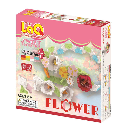 Package front side featured in the LaQ sweet collection flower set