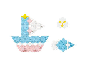 Yacht and fish featured in the LaQ sweet collection mini sky blue set