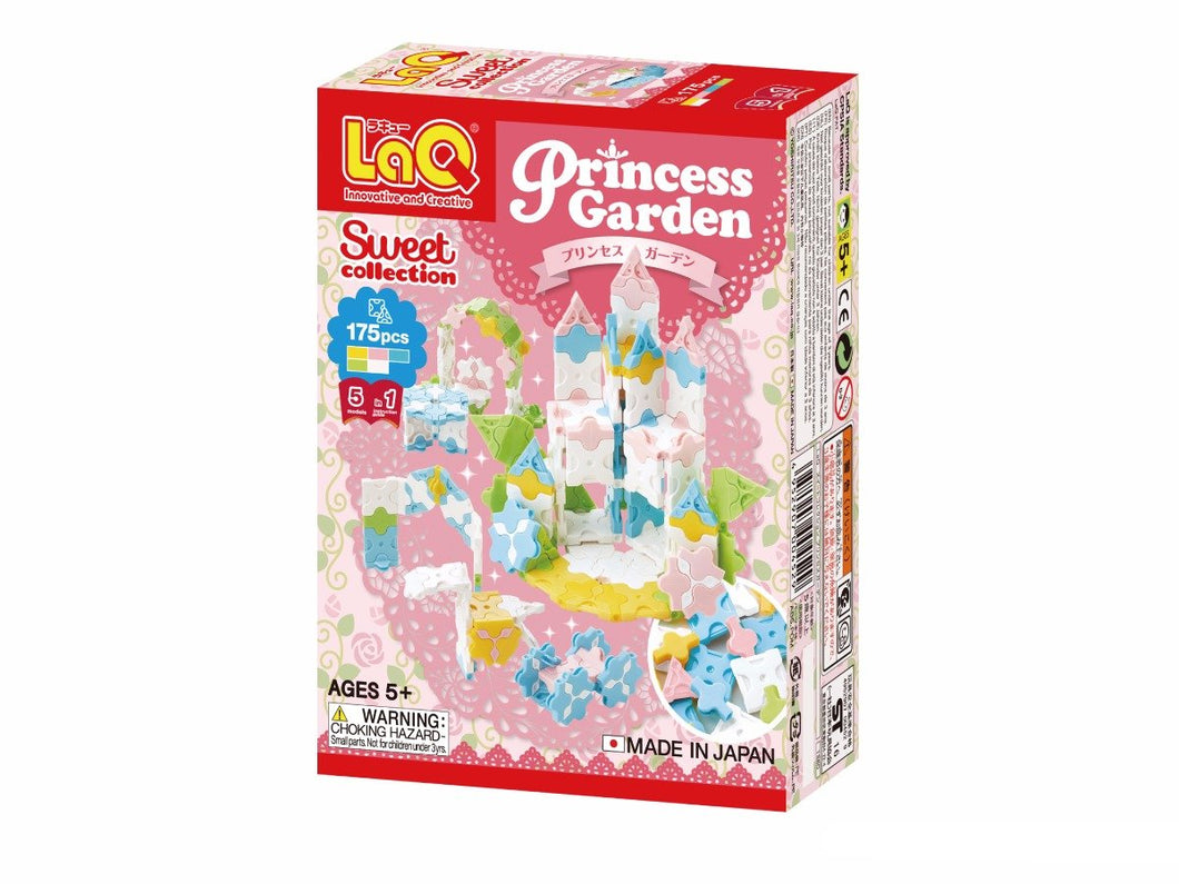 Package front side featured in the LaQ sweet collection princess garden set