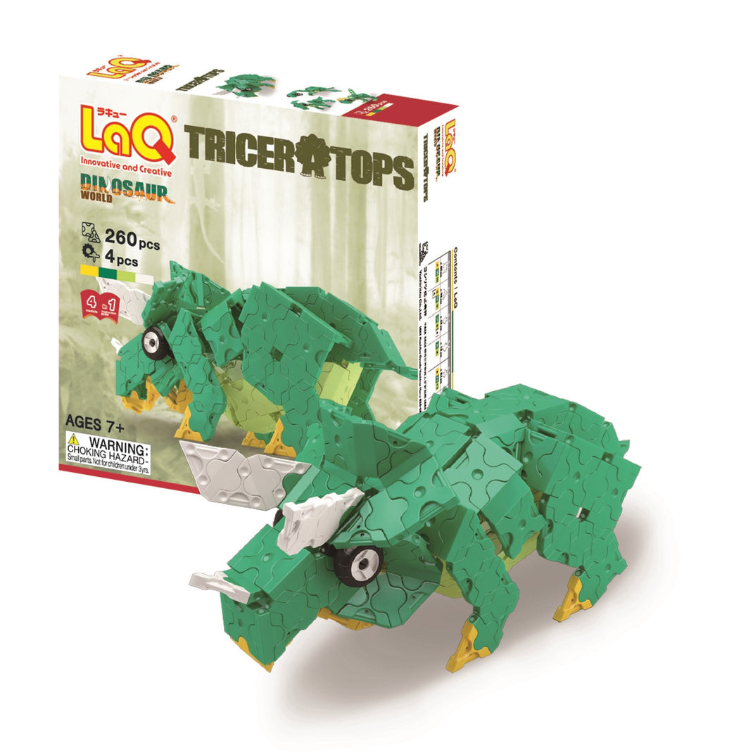 Package and model featured in the LaQ dinosaur world triceratops set