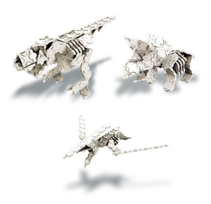Rex pteranodon and triceratops featured in the LaQ dinosaur world skeleton set