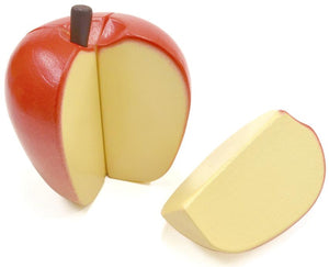 Apple cut into section featured in the woody puddy set