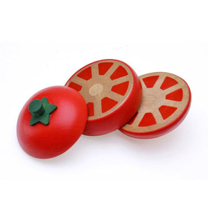 Tomato sliced into 3 parts featured in the woody puddy set