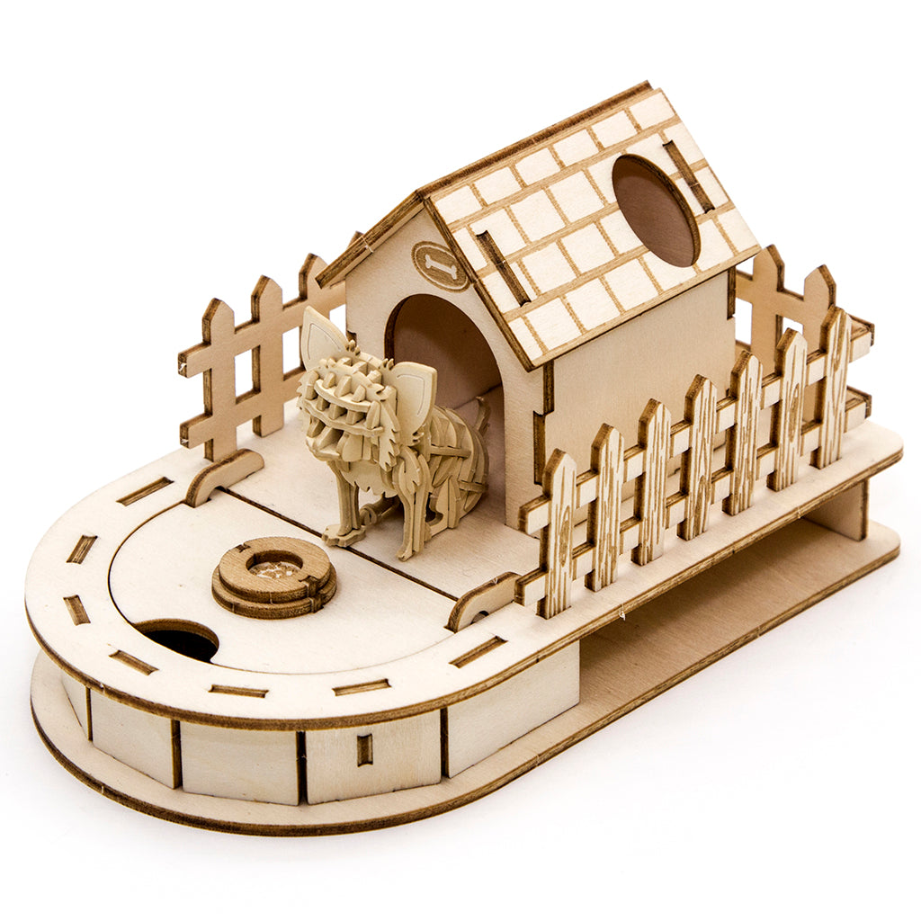 [JIGZLE Paper + Plywood Puzzle]<br>Dog House Mini Desktop Organizer with Chihuahua