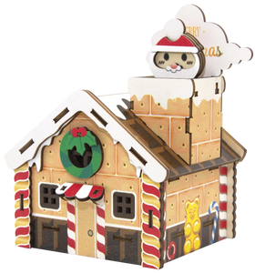[JIGZLE Wooden Puzzle]<br>Christmas Gingerbread House Musical Box