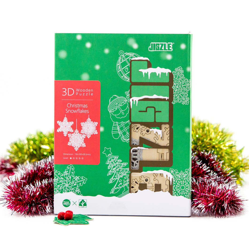 [JIGZLE Wooden Puzzle]<br>Christmas Snowflakes Box Set (3 in one)
