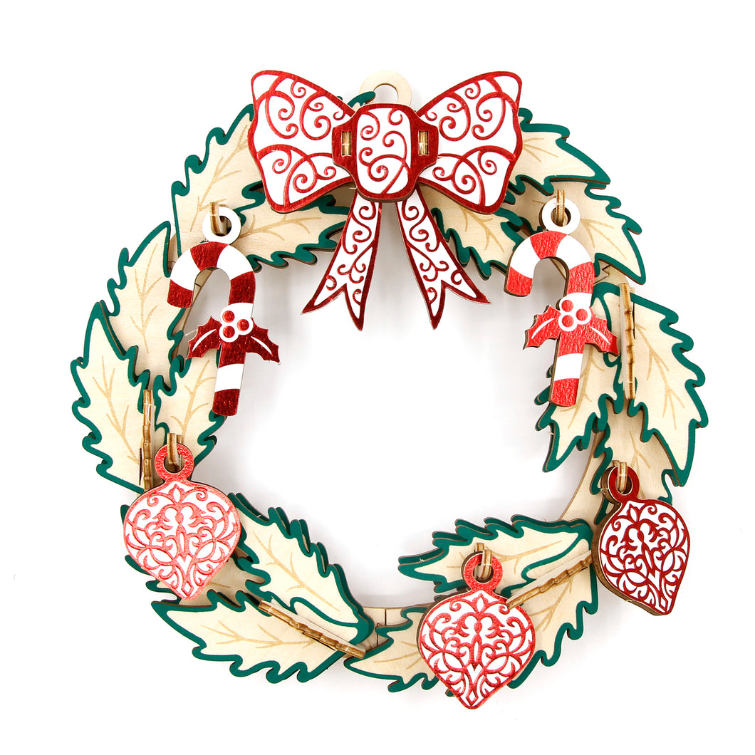 [JIGZLE Wooden Puzzle]<br>Christmas Wreath (15cm)