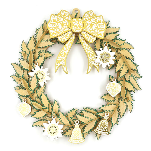 [JIGZLE Wooden Puzzle]<br>Christmas Wreath (35cm)