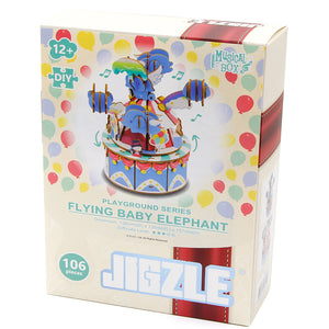 [JIGZLE Wooden Puzzle]<br>Playground Series - Flying Baby Elephant