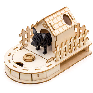 [JIGZLE Paper + Plywood Puzzle]<br>Dog House Mini Desktop Organizer with French Bulldog