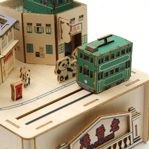 [JIGZLE Wooden Puzzle]<br>Old Street and Alleys Musical Box